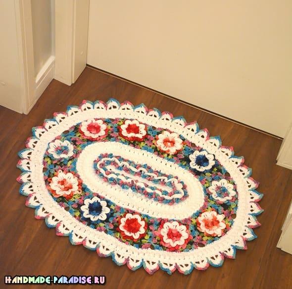 Цветочный коврик крючком из секционной пряжи (2)