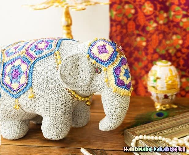 Индийский слон мотивами африканский цветок (3)