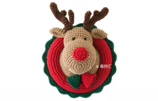 Рождественский олень - детское панно крючком (2)