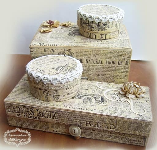 Декор коробок тканью и газетами (10)