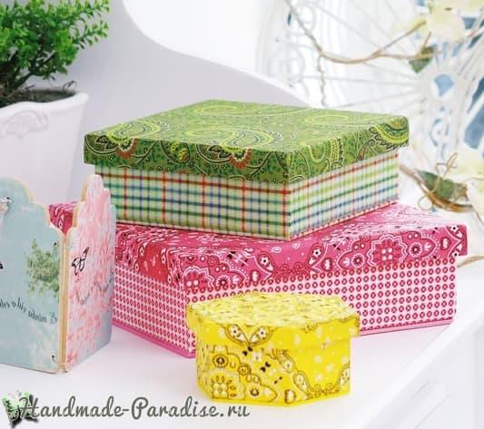 Декор коробок тканью и газетами (11)