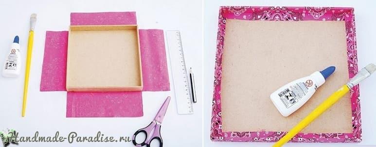 Декор коробок тканью и газетами (3)