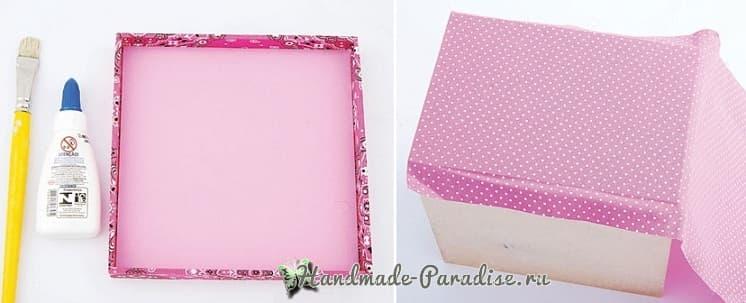 Декор коробок тканью и газетами (4)