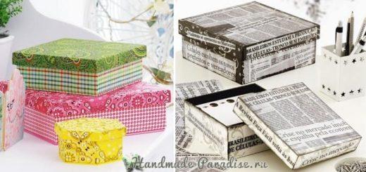 Декор коробок тканью и газетами (6)