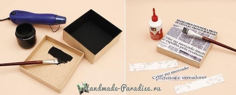Декор коробок тканью и газетами (8)