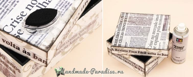 Декор коробок тканью и газетами (9)