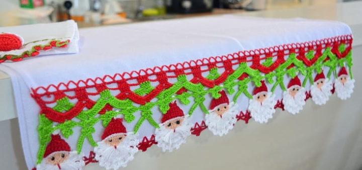 Обвязка крючком. Кружево с Санта-Клаусами (5)