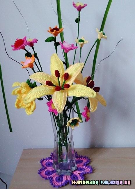 Цветы handmade. Лилия крючком (1)