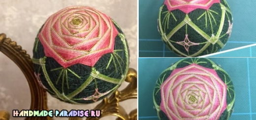 Японский шар темари с розой (1)
