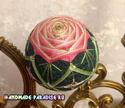 Японский шар темари с розой (2)