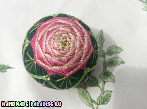 Японский шар темари с розой