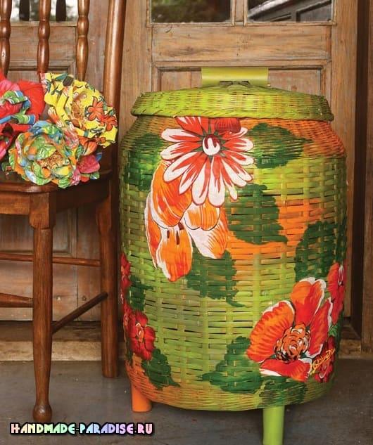Декорирование тканью и красками плетеной корзинки (1)