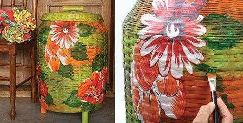 Декорирование тканью и красками плетеной корзинки (2)