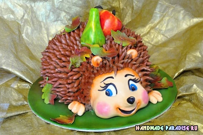 Детский торт с ежиками из марципана (2)