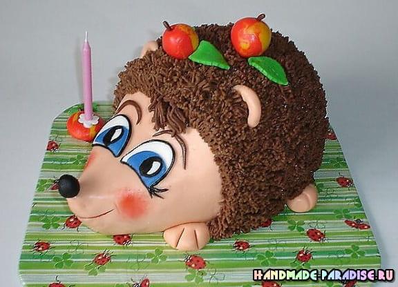 Детский торт с ежиками из марципана (3)