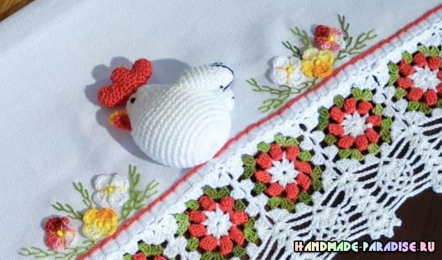 Курочка крючком на полотенце (1)