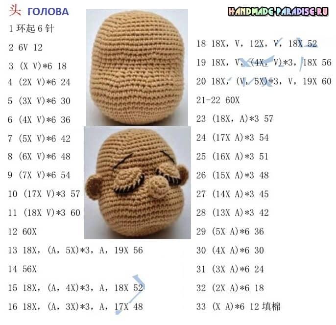 Малыш-сплюшка крючком. Описание вязания (2)