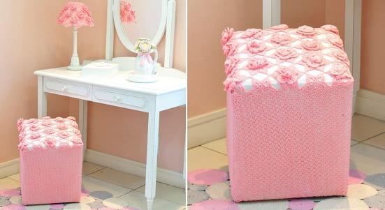 Розовый пуфик и абажур для спальни крючком (1)