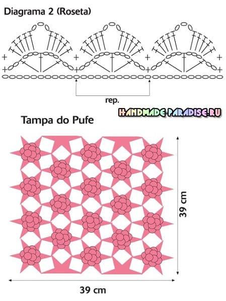 Розовый пуфик и абажур для спальни крючком (4)