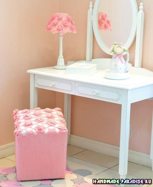 Розовый пуфик и абажур для спальни крючком (5)