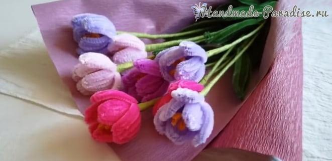 Букет тюльпанов из синельной проволоки (2)