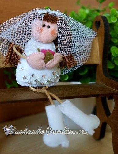 Куколка-невеста из фетра своими руками (2)