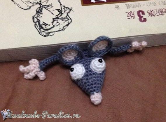 Мышка крючком - закладка для книжки (2)