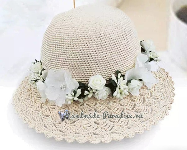 Шляпка крючком с ажурными полями (2)