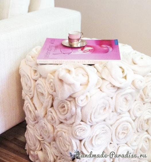 Декорирование пуфика розами из синтепона (1)