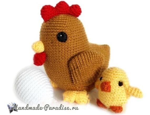 Курочка с цыпленком амигуруми (2)