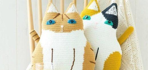 Детские подушки Кошки крючком (4)