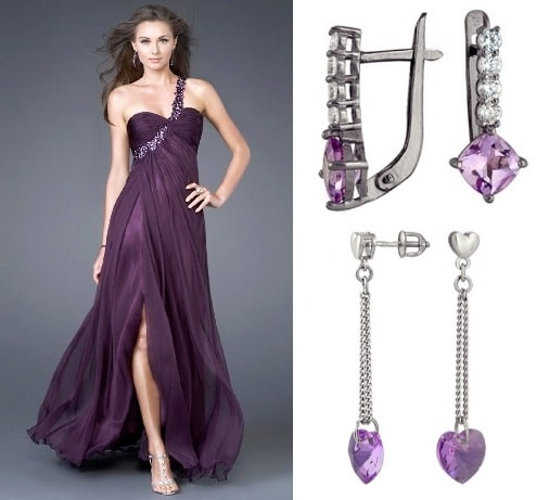 Серьги с фианитом для сиреневого и фиолетового платья (2)