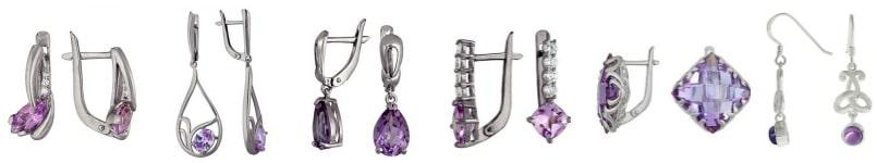 Серьги с фианитом для сиреневого и фиолетового платья (3)