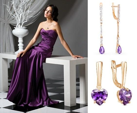 Серьги с фианитом для сиреневого и фиолетового платья