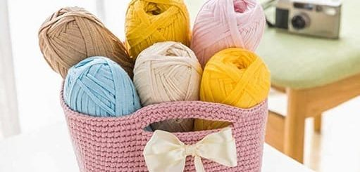 Вязание корзинки из трикотажной пряжи (3)