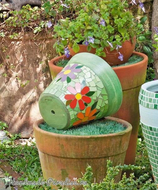 Декор цветочных горшков мозаикой из кафельной плитки (1)
