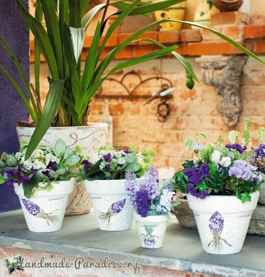 Декор цветочных горшков мозаикой из кафельной плитки (2)