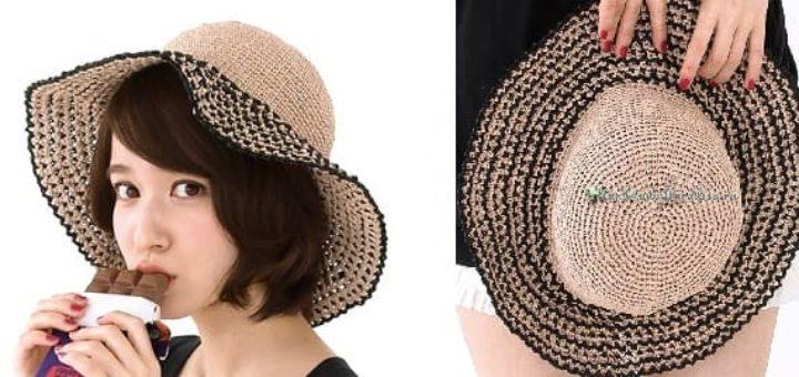Летняя соломенная шляпа крючком (1)