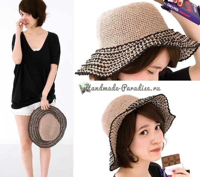 Летняя соломенная шляпа крючком (2)