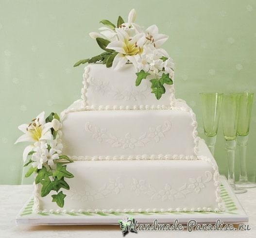 Лилии из сахарной мастики для свадебного торта (1)