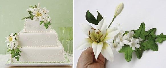 Лилии из сахарной мастики для свадебного торта (3)