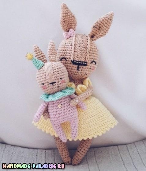 Крольчиха с малышом амигуруми. Описание вязания (2)