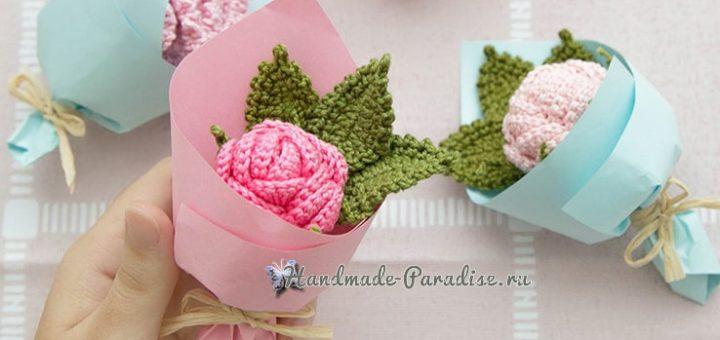Розы и гвоздики - миниатюрные букетики крючком (1)