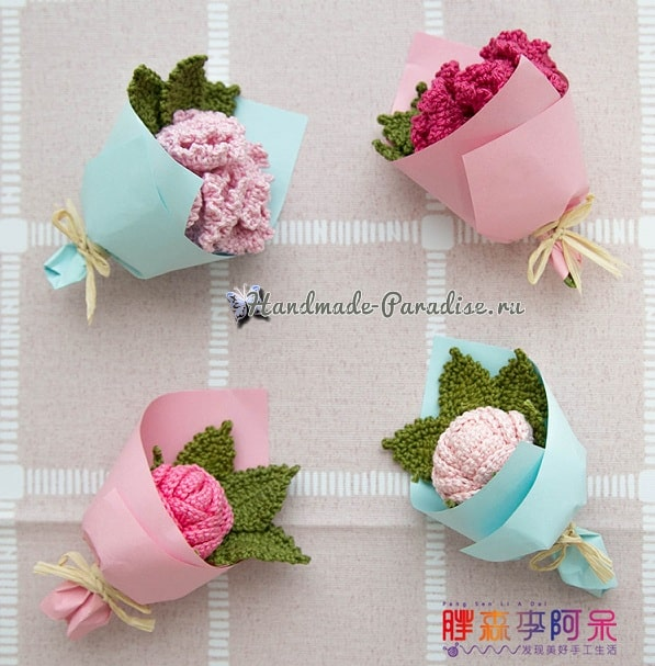 Розы и гвоздики - миниатюрные букетики крючком (2)