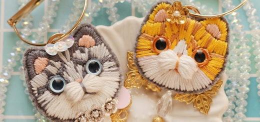 Детская вышивка. Броши с кошками (2)