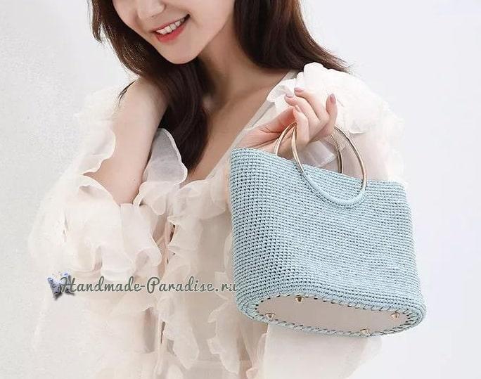 Вязание летней сумки с кожаным дном (1)
