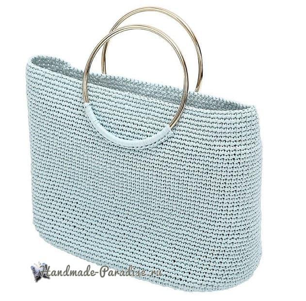 Вязание летней сумки с кожаным дном (2)