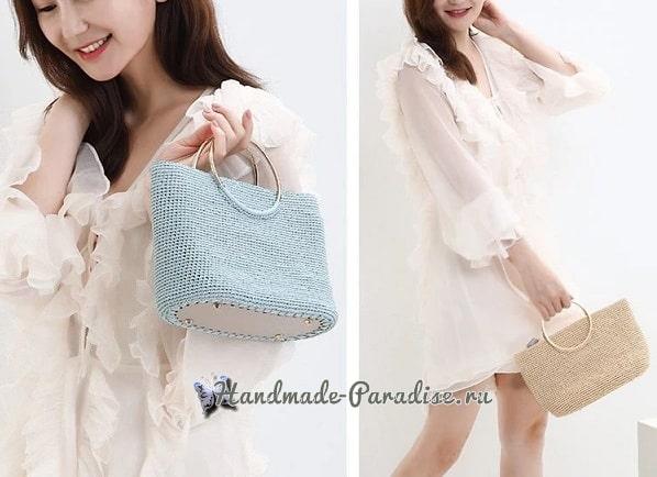 Вязание летней сумки с кожаным дном (3)