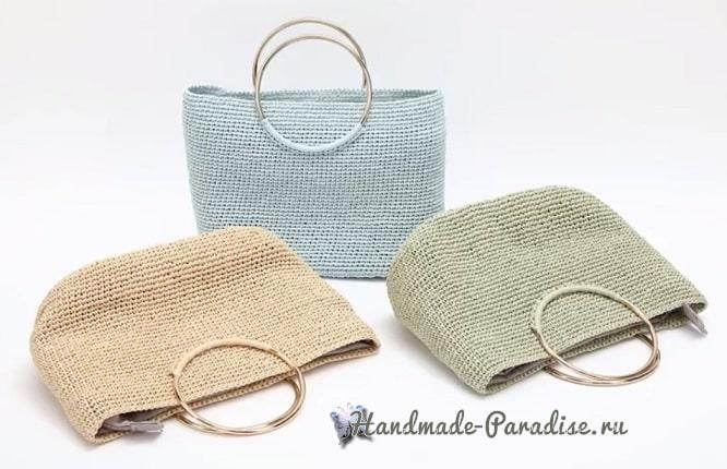 Вязание летней сумки с кожаным дном (5)