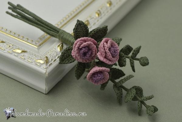 Брошь «Букетик роз» крючком (1)